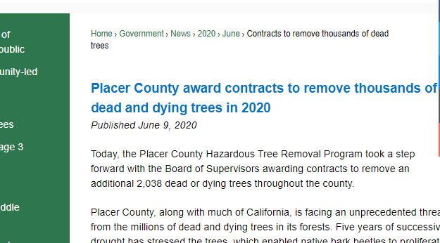 Placer County Tree Removal News